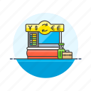 booth, cash, currency, exchange, finance, money, office icon