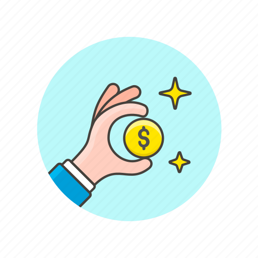 coin, currency, dollar, finance, hand, money, payment icon
