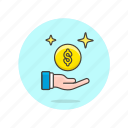 currency, hand, money icon