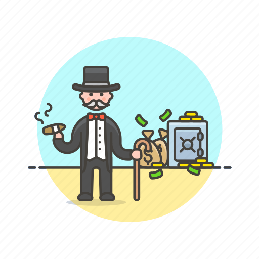 banker, cash, currency, finance, man, metropolis, money, safe icon