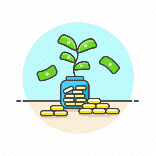 cash, currency, finance, investment, jar, money, plant icon