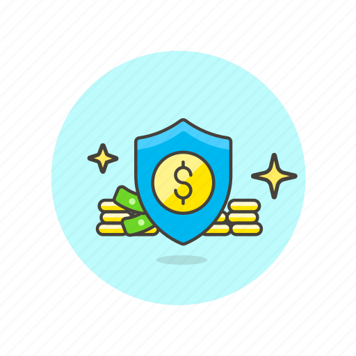 cash, currency, dollar, finance, money, protection, shield icon