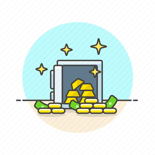 cash, currency, finance, gold, money, plate, safe icon