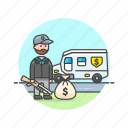 cash, currency, finance, man, money, tranportation, van, weapon icon