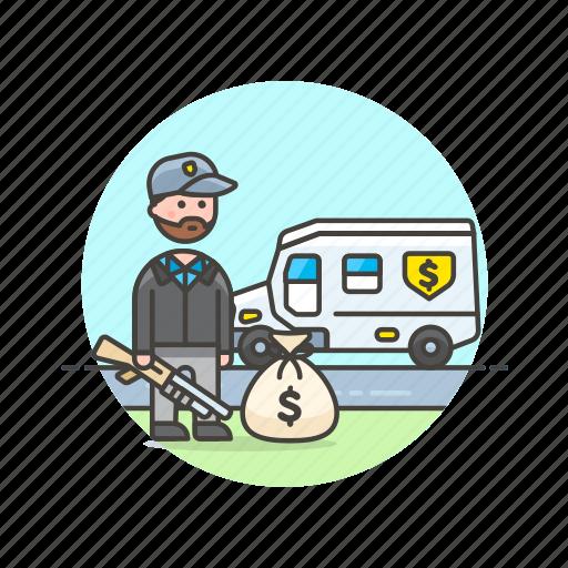 cash, currency, finance, man, money, tranportation, van, weapon icon
