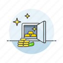 cash, currency, finance, gold, money, personal, safe icon