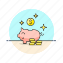 bank, cash, currency, dollar, finance, money, piggy, saving icon