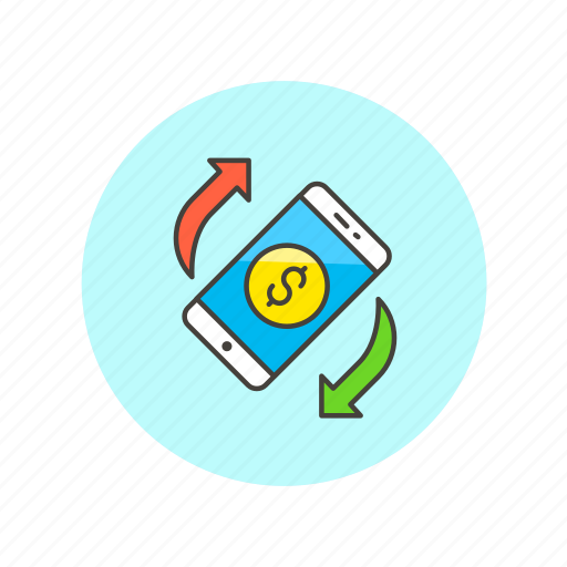exchange, money, online, remote, reverse, smartphone, virtual icon