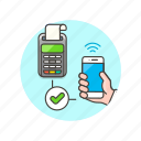 approve, machine, money, payment, sale, shop, smartphone icon
