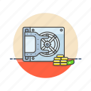 bank, cash, currency, finance, gold, money, safe, vault icon