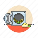 bank, cash, currency, finance, money, plate, safe, vault icon