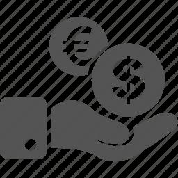 commerce, dollar, euro, finance, hand, money, sale icon