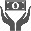 business, commerce, finance, finger, hand, money, sale icon