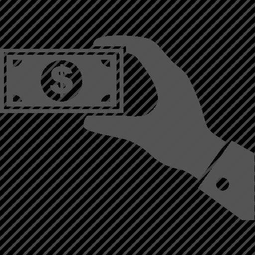 business, commerce, dollar, finance, hand, money, sale icon