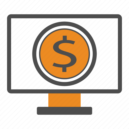 bill, cash, coin, coins, money, monitor icon