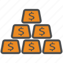 bill, cash, ingot, money icon