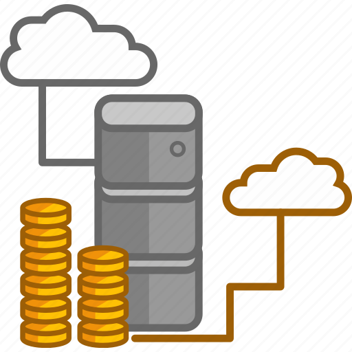 cabinet, cloud, coin, data, document, finance, money icon