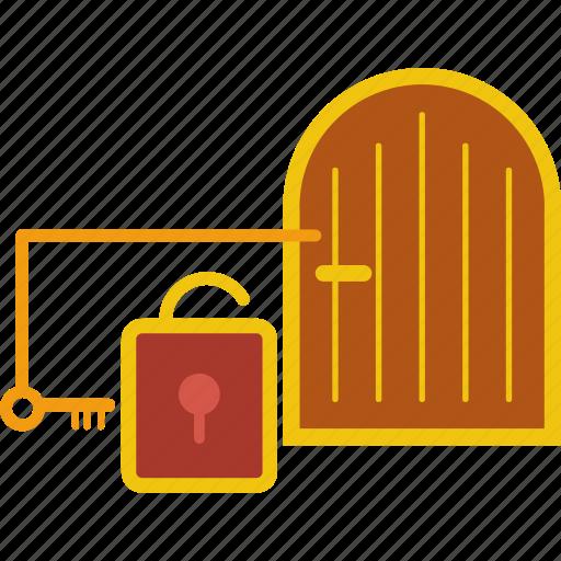 door, key, locked, padlock, protection, safe, saving icon