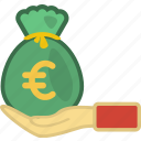 currency, euro, finance, hand, investment, money, saving icon