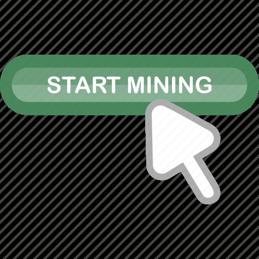 bitcoin, currency, cursor, finance, mining, mining tool, start icon