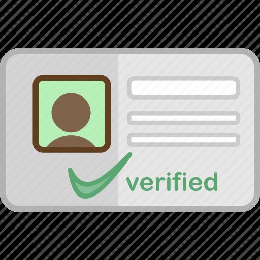 approve, checklist, member card, modern, object, portfolio, profile icon