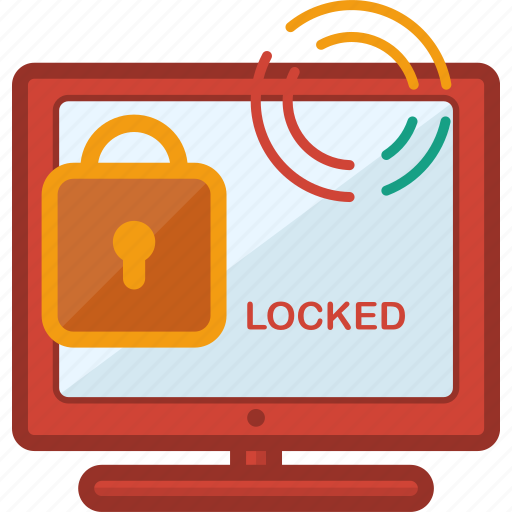 computer, devices, locked, monitor, padlock, protection, technology icon