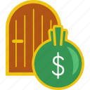 dollar, door, finance, gold, investment, money, saving icon