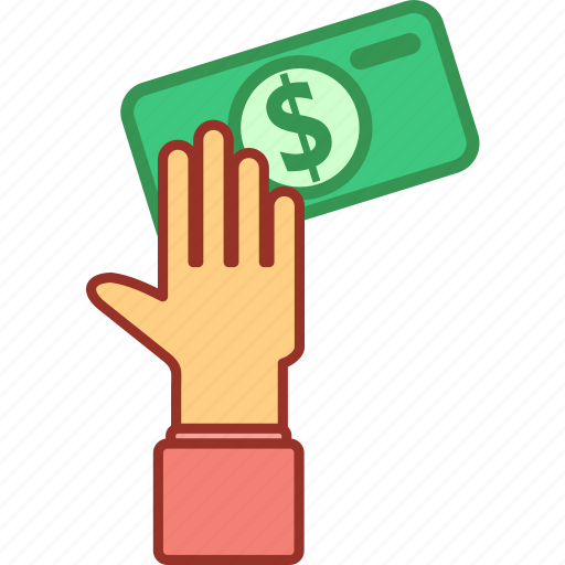 currency, dollar, finance, hand, investment, money, paper icon