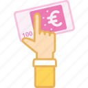 business, euro, finance, hand, investment, money, paper icon