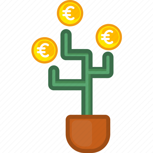 coin, currency, euro, finance, investment, money, tree icon