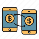 app, exchange, mobile, mobile payment, mobile wallet, transaction icon