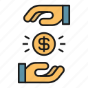 coin, exchange, management, money, payment icon
