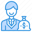 banking, businessman, currency, money, payment icon
