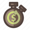 business, money, rotation, stopwatch, time icon