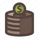 box, coin, investment, money, savings icon