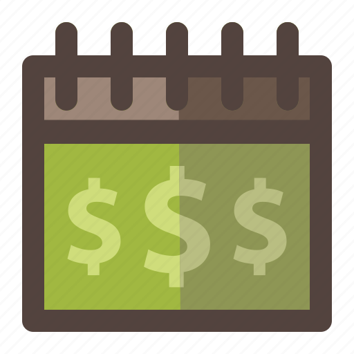 calendar, money, payday, payment icon