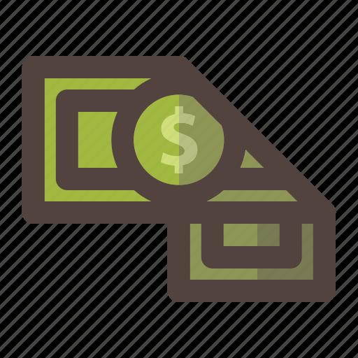 dollar, fold, money, solid icon