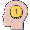 brain, coin, economy, finance, head, money icon