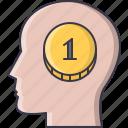 brain, coin, economy, finance, head, money