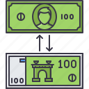 bank, banknote, economy, exchange, finance, money icon