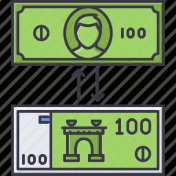 bank, banknote, economy, exchange, finance, money icon