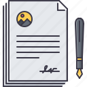 agreement, contract, economy, finance, money, pen icon