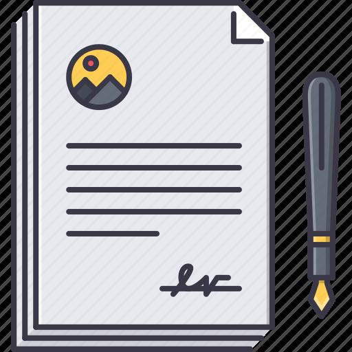 agreement, contract, economy, finance, money, pen icon