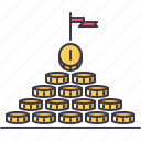 coin, economy, finance, money, profit, pyramid icon