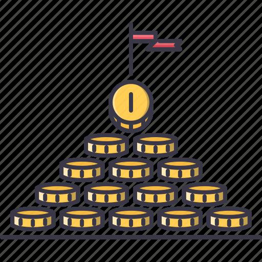 coin, economy, finance, money, profit, pyramid icon