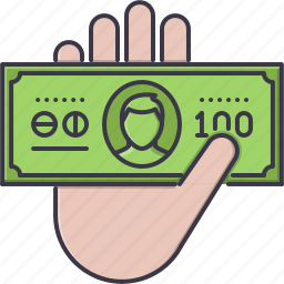 banknote, economy, finance, hand, money, payment icon