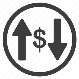 arrow, arrows, business, cash, currency, direction, dollar, down, money, shape, top, up icon
