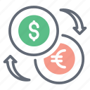 currency conversion, currency exchange, dollar exchange, foreign exchange, forex icon