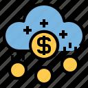 cloud, banking, coin, money, management, cash, finance
