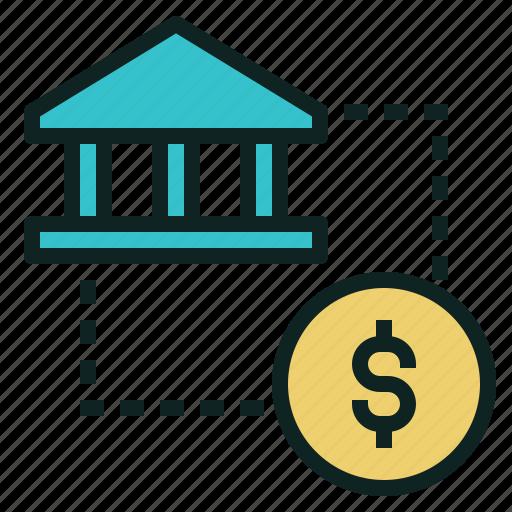 bank, circulation, coin, money icon